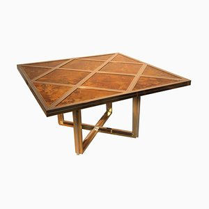 Square Italian Brass & Steel Table by Romeo Rega, 1970s
