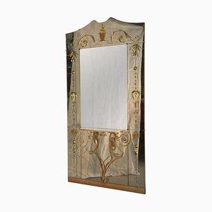 Espejo italiano Mid-Century con consola de Cristal Art