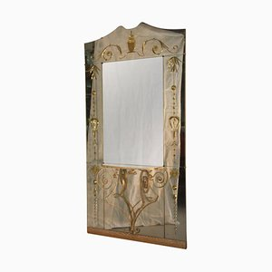 Mid-Century Italian Mirror with Console from Cristal Art