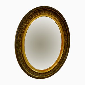 Oval Italian Carved Wooden Mirror, 1900s
