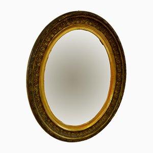 Ovaler italienischer Spiegel mit geschnitztem Holzrahmen, 1900er