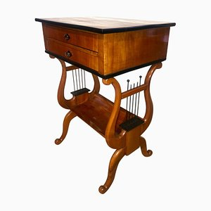 Biedermeier Cherry Sewing-Table with Lyra Legs, 1830s