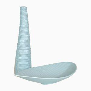 Vase & Schale aus Keramik in Reptilienhaut-Optik von Stig Lindberg für Gustavsberg, 1950er