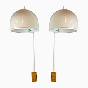 White Model V-075 Wall Lamps from Bergboms, 1960s, Set of 2