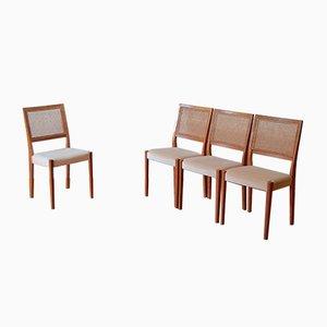 Bergère Stühle mit Gestell aus Teak & Rückenlehne aus Schilfrohrgeflecht von Svegards, 1960er, 4er Set