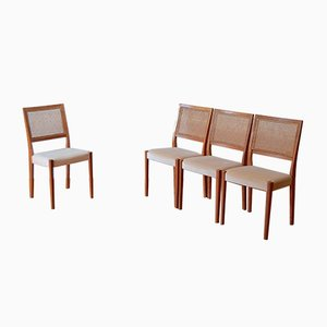 Teak & Cane Bergere Chairs from Svegards, 1960s, Set of 4