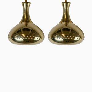 Lámparas colgantes de latón perforado de Hans-Agne Jakobsson, años 50. Juego de 2