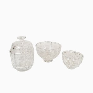 Art Deco Crystal Bowls by Simon Gate for Orrefors, 1960s, Set of 3