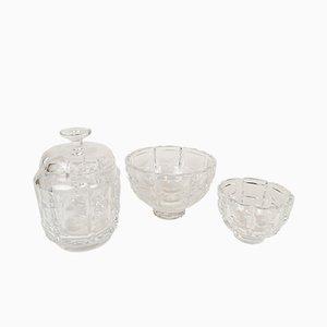 Art Deco Schalen aus Kristallglas von Simon Gate für Orrefors, 1960er, 3er Set