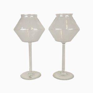Candelabros de vidrio de Bengt Orup para Johansfors, años 50. Juego de 2