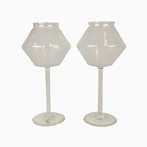 Glass Candleholders by Bengt Orup for Johansfors, 1950s, Set of 2