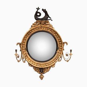 Espejo Regency antiguo convexo con hipocampo y marco dorado, década de 1820