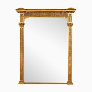 Espejo antiguo grande dorado con detalles pintados, década del 1800