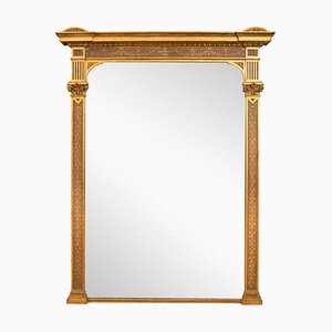 Großer antiker Kaminspiegel mit vergoldetem & bemaltem Spiegel, 1800er