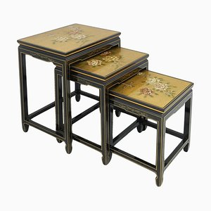 Black Lacquer Decorative Nesting Tables with Gold Birds & Flowers