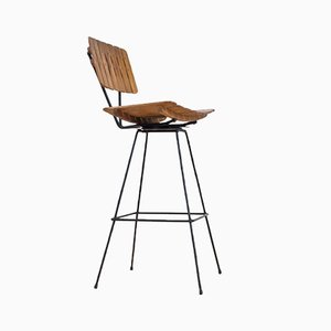 Barhocker mit Metallgestell & Sitz aus Holzbrettern von Arthur Umanoff für Shaver Howard, 1970er