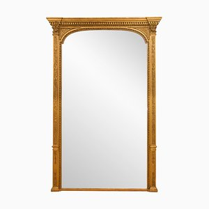 Antique Victorian Mercury Gilded Overmantle Mirror, 1840s
