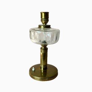 Große skandinavische Vintage Tischlampe aus Messing mit Glasdetail