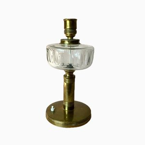 Large Vintage Scandinavian Brass Table Lamp with Glass Detail