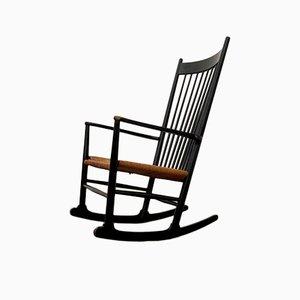 Rocking Chair J16 Noir par Hans Wegner pour FDB Møbler, Danemark, 1960