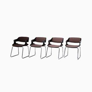 Vintage Armlehnstühle mit Sitzschale aus Bugholz & Sitz mit Stoffbezug von Eugen Schmidt, 1960er, 4er Set