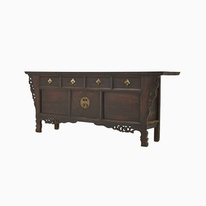 19th Century Chinese Elm Sideboard with Carved Decoration