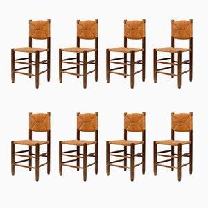 Sedia da pranzo in paglia di Charlotte Perriand, anni '60, set di 8