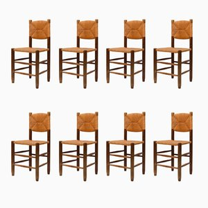 Straw Dining Chairs by Charlotte Perriand, 1960s, Set of 8
