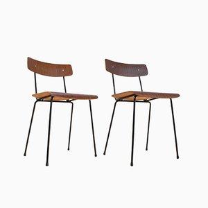 Braune Mid-Century Stühle aus Schichtholz von A. Cordemeyer für Gispen, 1959, 2er Set
