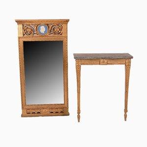 Juego de consola y espejo gustaviano antiguo