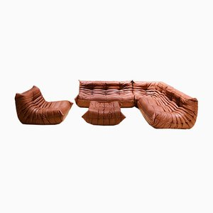 Cognac Leather Living Room Set by Michel Ducaroy for Ligne Roset, 1970s