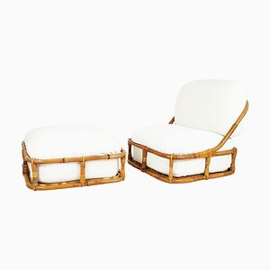 Bamboo Lounge Chair & Ottoman from Pierantonio Bonacina, 1970s