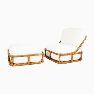 Sessel & Fußhocker aus Bambus von Pierantonio Bonacina, 1970er