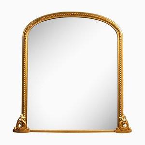 Espejo antiguo grande dorado, década de 1860