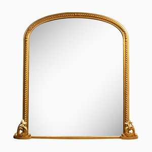 Large Antique Gilded Overmantle Mirror, 1860s