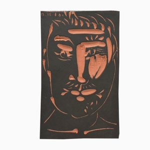 Face of Man Ceramic Plaque by Pablo Picasso for Madoura, 1966