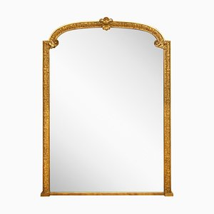 Specchio da camino grande antico dorato, metà XIX secolo