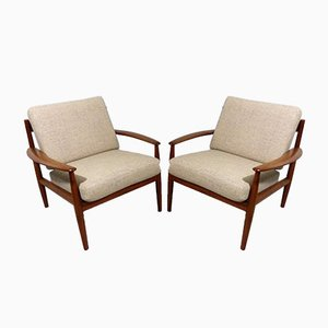 Danish Teak Easy Chairs by Grete Jalk for France & Søn, Set of 2