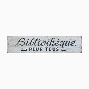 Antikes französisches Volkskunst-Bibliotheksschild