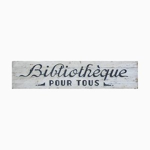Antique French Folk Art Library Sign