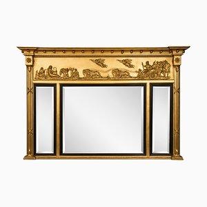 Antiker Triptychon Spiegel mit Kampfwagen-Motiven, 1840er