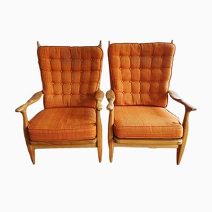 Solid Oak & Fabric Edouard Armchairs by Guillerme et Chambron for Votre Maison, 1960s, Set of 2