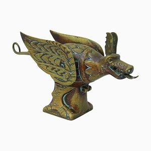Encrier Oiseau Dragon Antique en Laiton