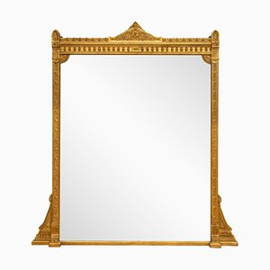 Antique English Gilded Overmantle Mirror, 1860s