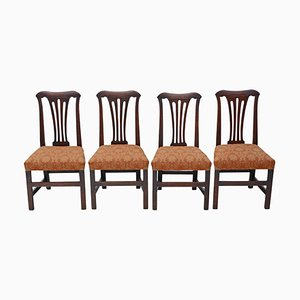 Georgian Oak Dining Chairs, 1800s, Set of 4