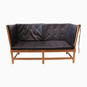 Beech & Black Leather Sofa by Børge Mogensen, 1985