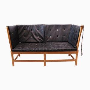 Sofa mit Gestell aus Buche & schwarzem Lederpolster von Børge Mogensen, 1985