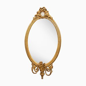 Antique Gilded Oval Overmantle Mirror, 1870s