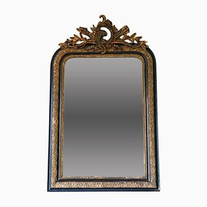 Antique French Gilt and Ebonized Mantle Mirror