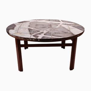Large Stone & Rosewood Coffee Table, 1960s